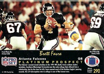 1991 Pro Set Platinum 290 Brett Favre Back