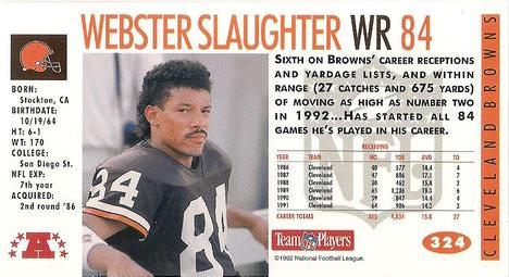 1992 GameDay #324 Webster Slaughter Back