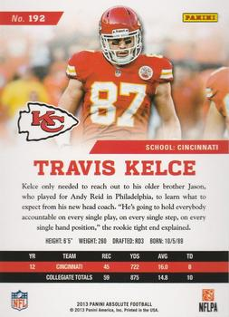 2013 Panini Absolute #192 Travis Kelce Back
