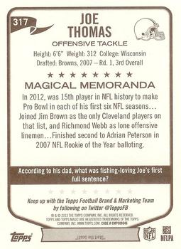2013 Topps Magic #317 Joe Thomas Back