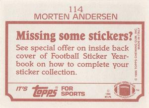1986 Topps Stickers #114 Morten Andersen Back
