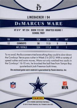 2013 Panini Certified - Mirror Blue Materials #17 DeMarcus Ware Back