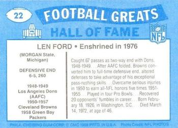 1988 Swell Greats #22 Len Ford Back
