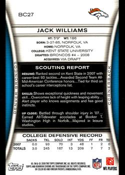2008 Bowman Chrome #BC27 Jack Williams Back