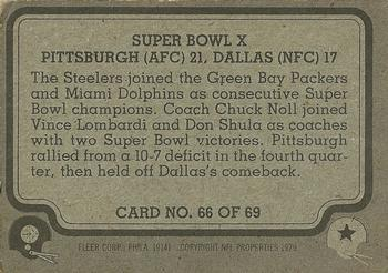 1979 Fleer Team Action #66 Super Bowl X Back