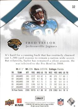 2008 Upper Deck Ultimate Collection #32 Fred Taylor Back