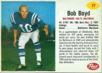 1962 Post Cereal #77 Bob Boyd Front