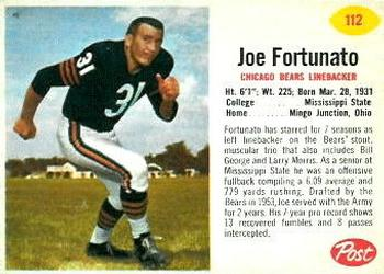 1962 Post Cereal #112 Joe Fortunato Front