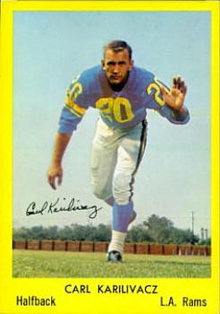 1960 Bell Brand Los Angeles Rams #28 Carl Karilivacz Front
