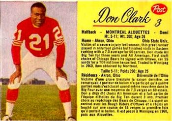 1963 Post Cereal CFL #3 Don Clark Front