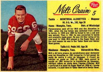 1963 Post Cereal CFL #5 Milt Crain Front