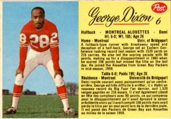 1963 Post Cereal CFL #6 George Dixon Front