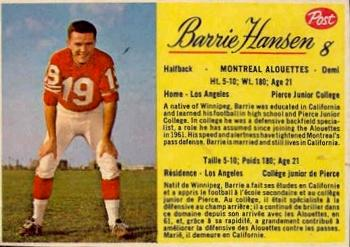 1963 Post Cereal CFL #8 Barrie Hansen Front