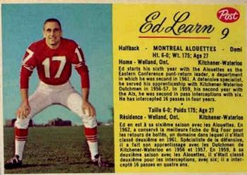 1963 Post Cereal CFL #9 Ed Learn Front