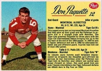 1963 Post Cereal CFL #12 Don Paquette Front