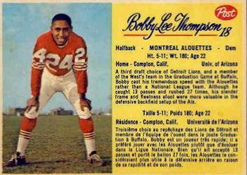 1963 Post Cereal CFL #18 Bobby Lee Thompson Front