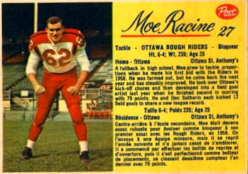 1963 Post Cereal CFL #27 Moe Racine Front