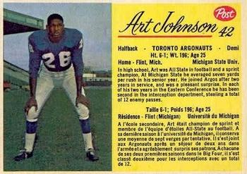 1963 Post Cereal CFL #42 Art Johnson Front