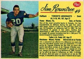 1963 Post Cereal CFL #49 Jim Rountree Front
