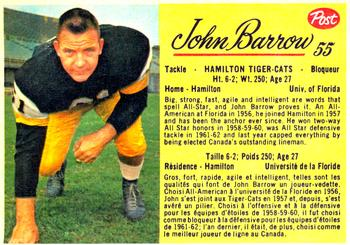 1963 Post Cereal CFL #55 John Barrow Front