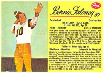 1963 Post Cereal CFL #59 Bernie Faloney Front