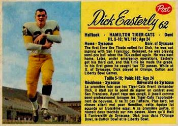 1963 Post Cereal CFL #62 Dick Easterly Front