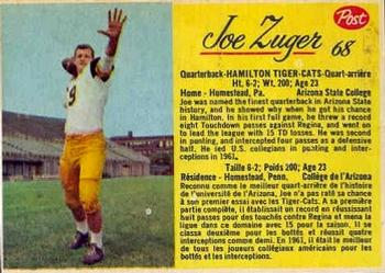 1963 Post Cereal CFL #68 Joe Zuger Front