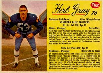 1963 Post Cereal CFL #76 Herb Gray Front