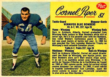 1963 Post Cereal CFL #81 Cornel Piper Front