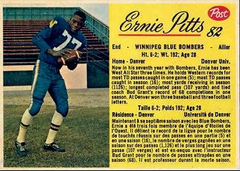 1963 Post Cereal CFL #82 Ernie Pitts Front