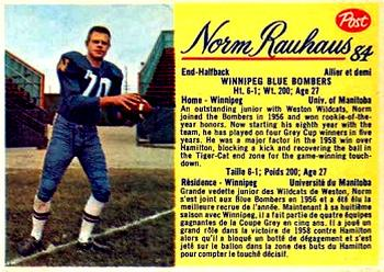 1963 Post Cereal CFL #84 Norm Rauhaus Front
