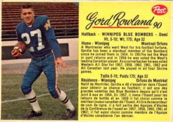 1963 Post Cereal CFL #90 Gord Rowland Front