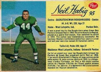 1963 Post Cereal CFL #95 Neil Habig Front