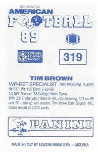 1989 Panini Stickers UK #319 Tim Brown Back