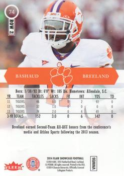 2014 Flair Showcase Rookies Row 2#74 Bashaud Breeland Tigers Football Card
