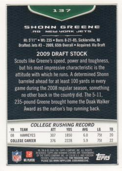 2009 Bowman Chrome #137 Shonn Greene Back
