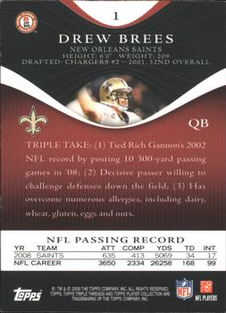 2009 Topps Triple Threads #1 Drew Brees Back