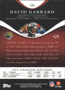 2009 Topps Triple Threads #10 David Garrard Back