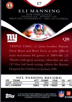 2009 Topps Triple Threads #17 Eli Manning Back