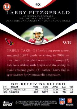 2009 Topps Triple Threads #58 Larry Fitzgerald Back