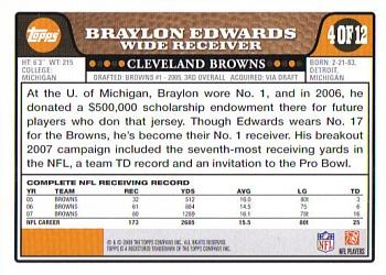 2008 Topps Cleveland Browns #4 Braylon Edwards Back
