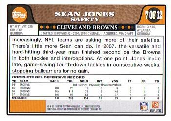 2008 Topps Cleveland Browns #7 Sean Jones Back