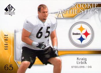 2009 SP Authentic #281 Kraig Urbik Front