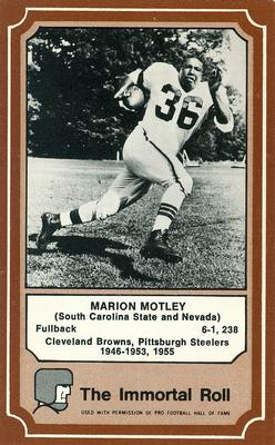 1975 Fleer Immortal Roll #37 Marion Motley Front