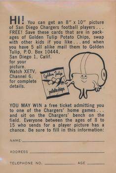 1961 Golden Tulip Chargers #NNO Dick Harris Back