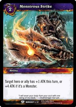 2012 Cryptozoic World of Warcraft Murkdeep #5 Monstrous Strike Front