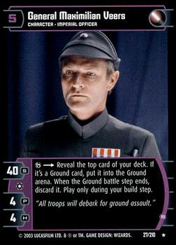 2003 Wizards Of The Coast Star Wars: The Empire Strikes Back TCG #27 General Maximilian Veers Front