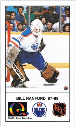1988-89 Edmonton Oilers Action Magazine Tenth Anniversary Commemerative #60 Bill Ranford Front