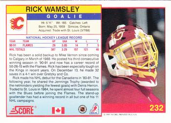 1991-92 Score Canadian English #232 Rick Wamsley Back