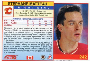 1991-92 Score Canadian English #242 Stephane Matteau Back